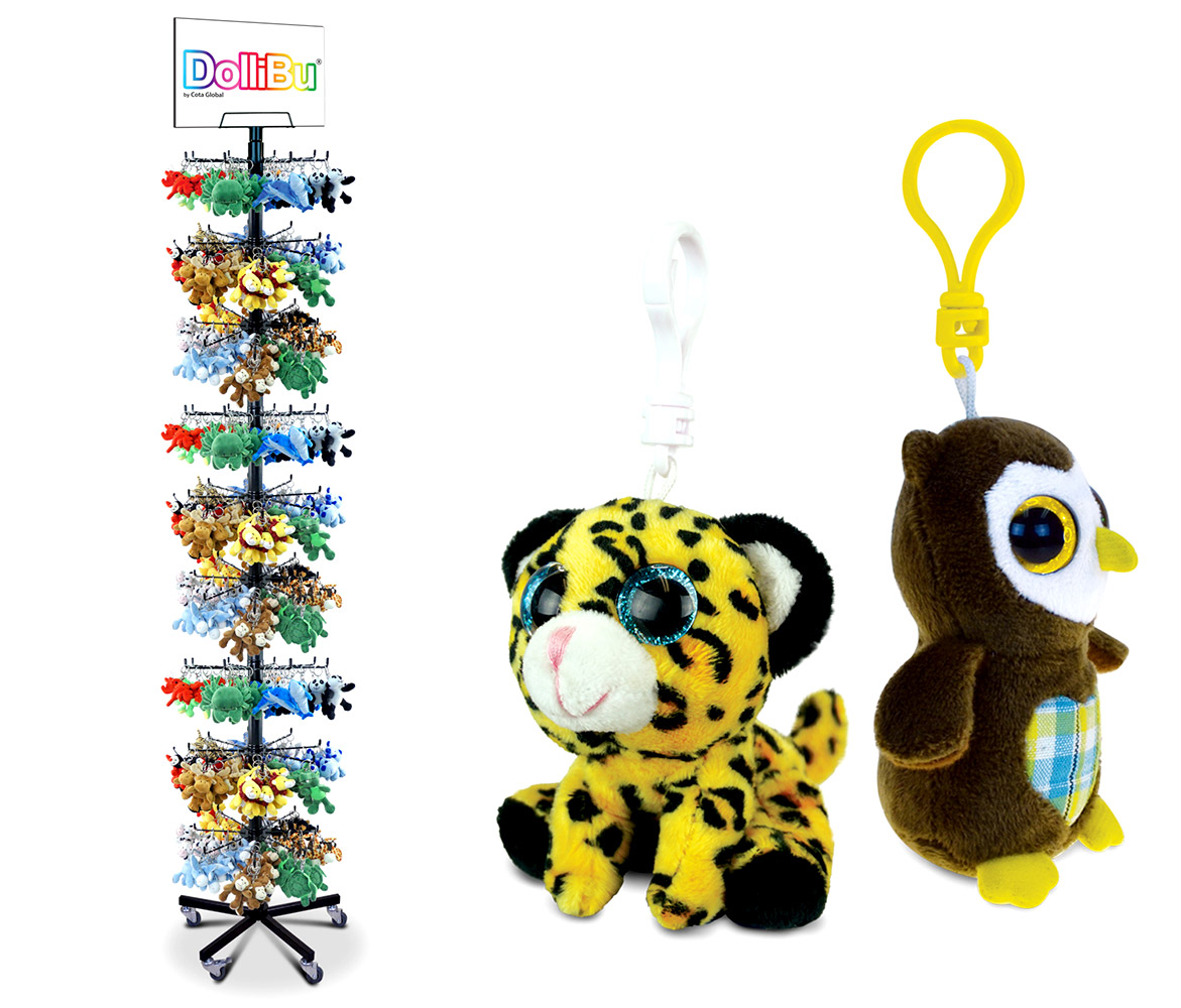 Plush Big - Eyes BACKPACK Clips W/Stand - Package