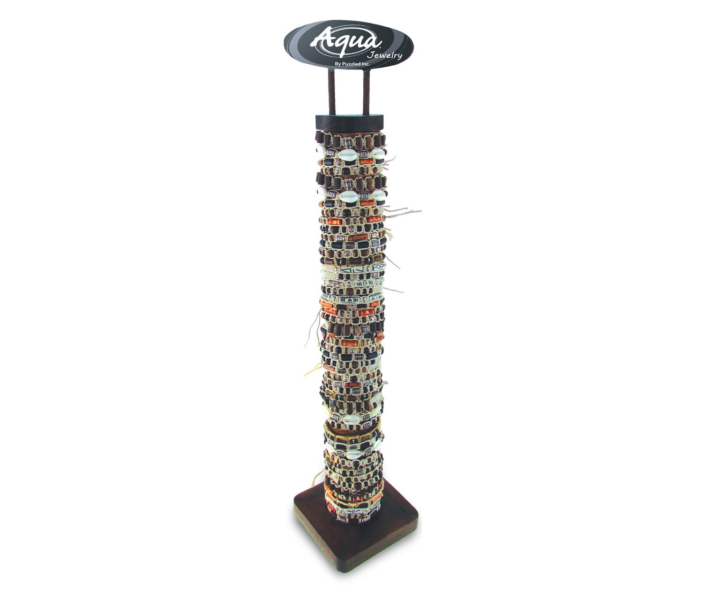 Natural Hemp W/Wood Shell And Metal BEADS - 12 Asst - 96 Pcs Assorted W/Display - Aqua Bracelets Pac
