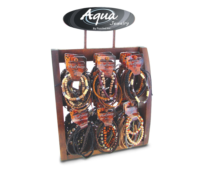 BEADS And Leather - 6Pc Bundle - 6 Asst- 32 Pcs W/Display - Aqua Bracelets Package