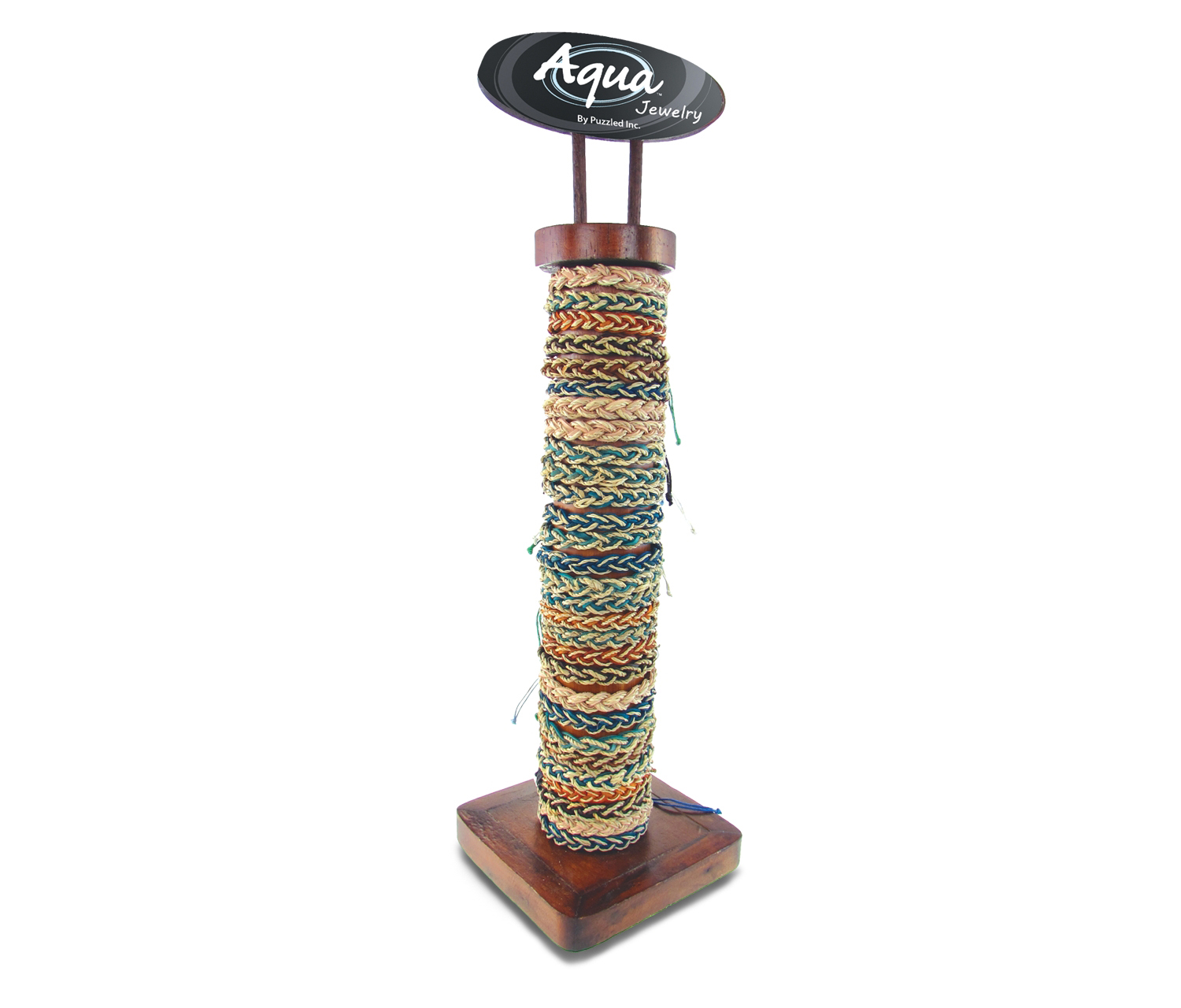 LEATHER And Straw  - 6 Asst - 96 Pcs Assorted W/Display - Aqua Bracelets Package