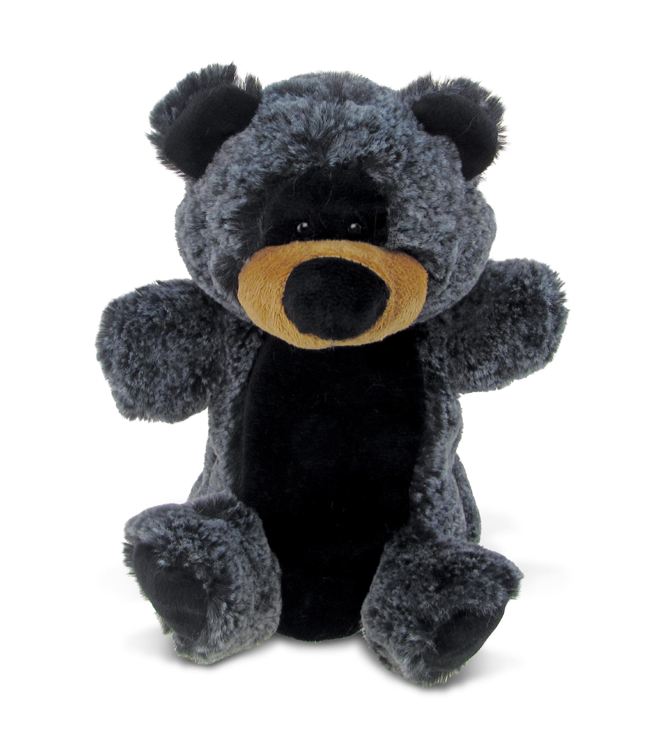 Puzzled Super Soft Plush Hand Puppet Black Bear