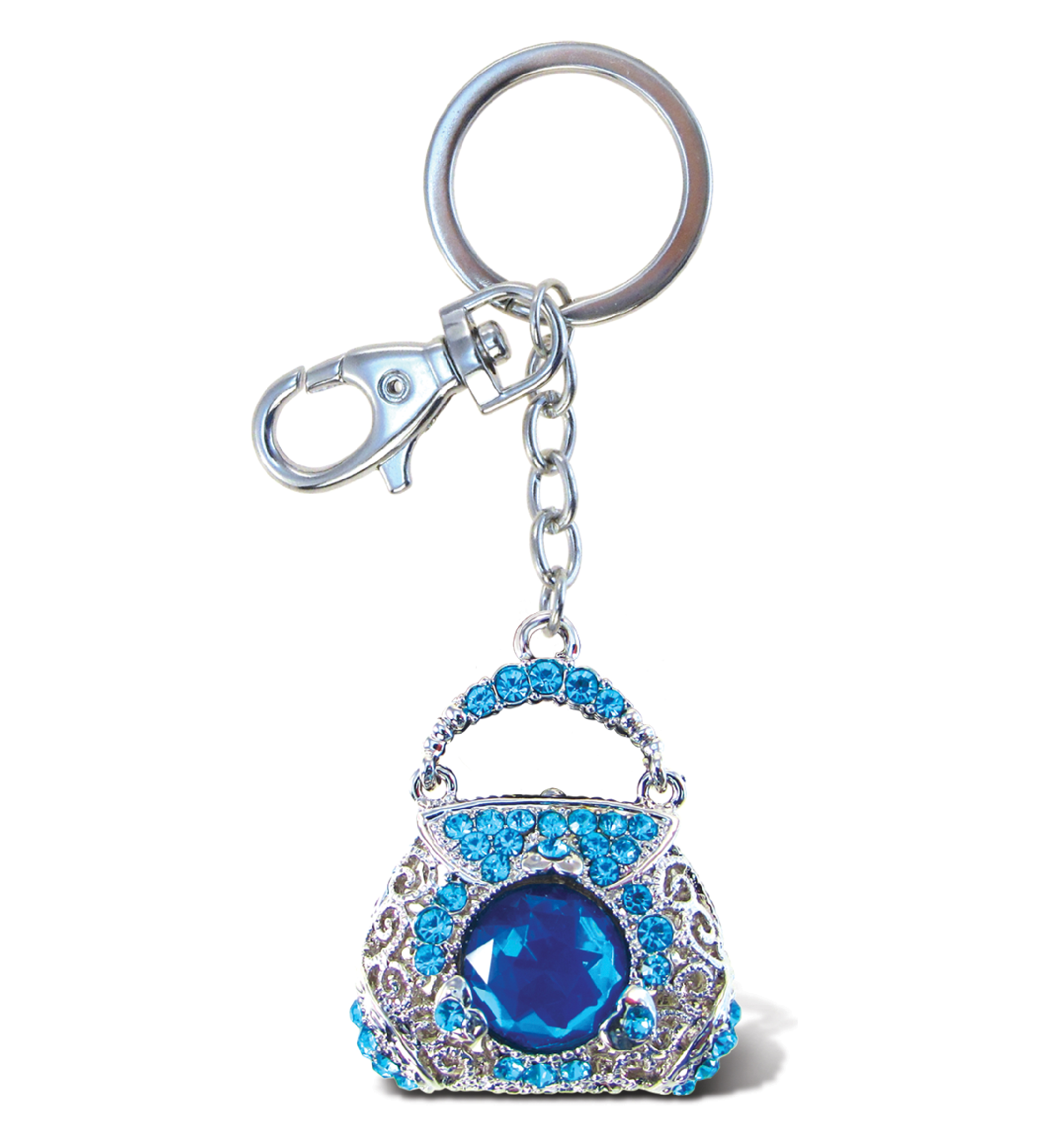"Puzzled Purse Blue Sparkling Charm (Size: 7.5""L x 3""W x 0.5""H), Adult Unisex, Size: Small, Multi, Size S (Metal)"