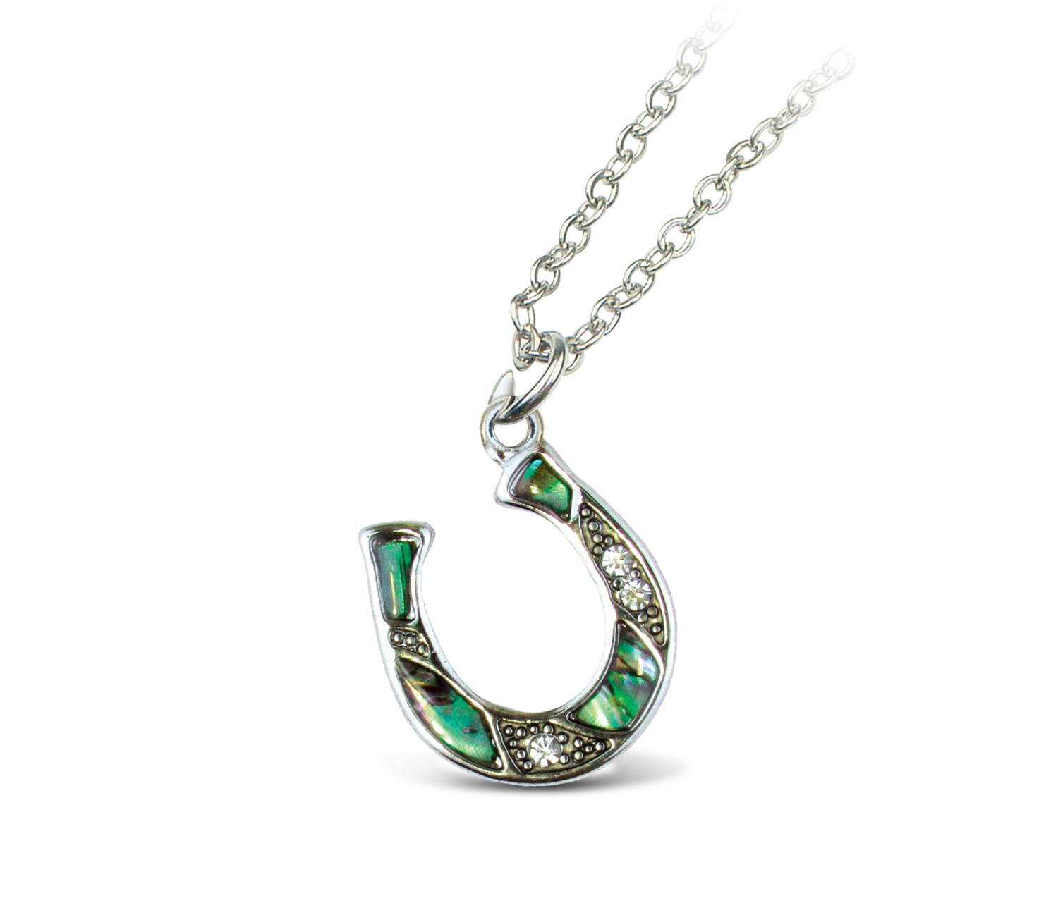 Necklace Link Style Chain 18 Inch - Natural Paua - Horse SHOE - Aqua Jewelry