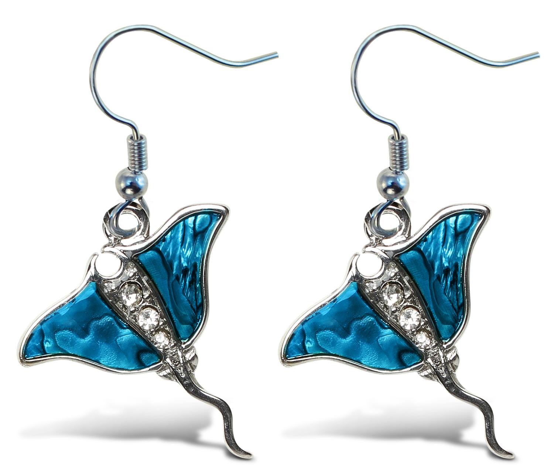 Fish Hook Manta Ray - Aqua JEWELRY - Earrings - Dangle Post