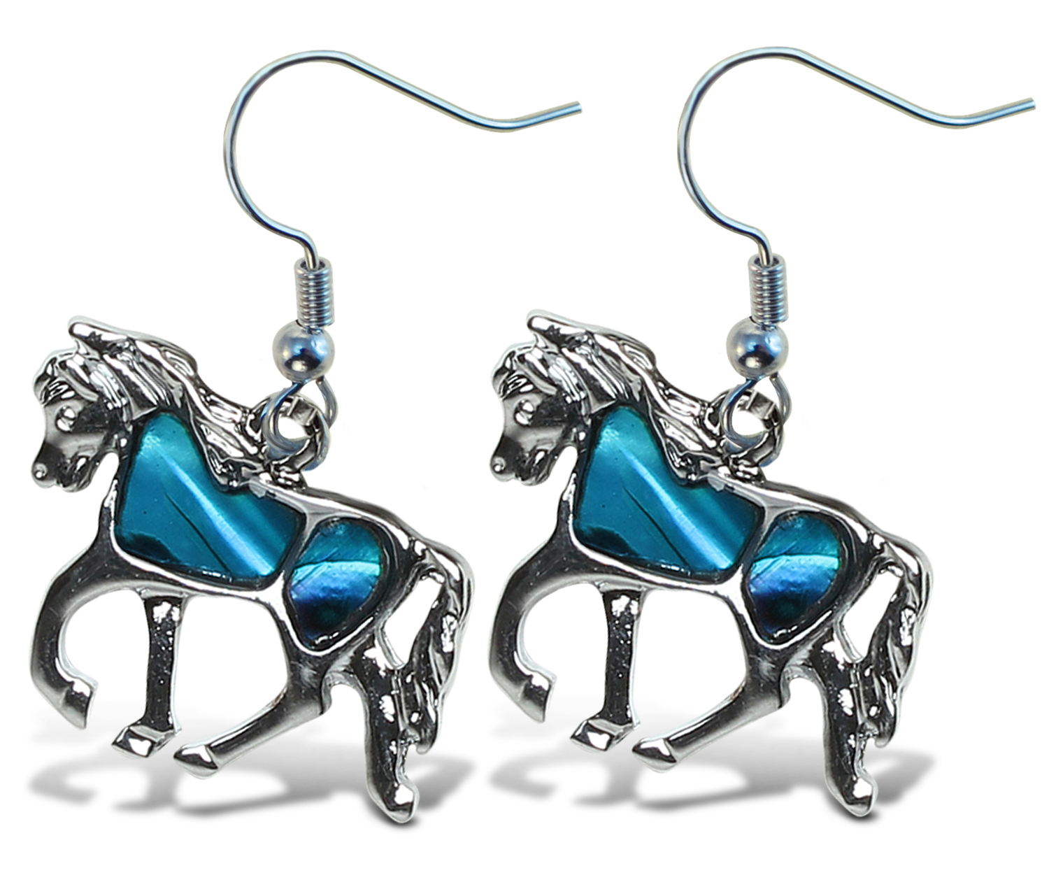 Aqua JEWELRY Earrings Dangle Post Fish Hook Horse