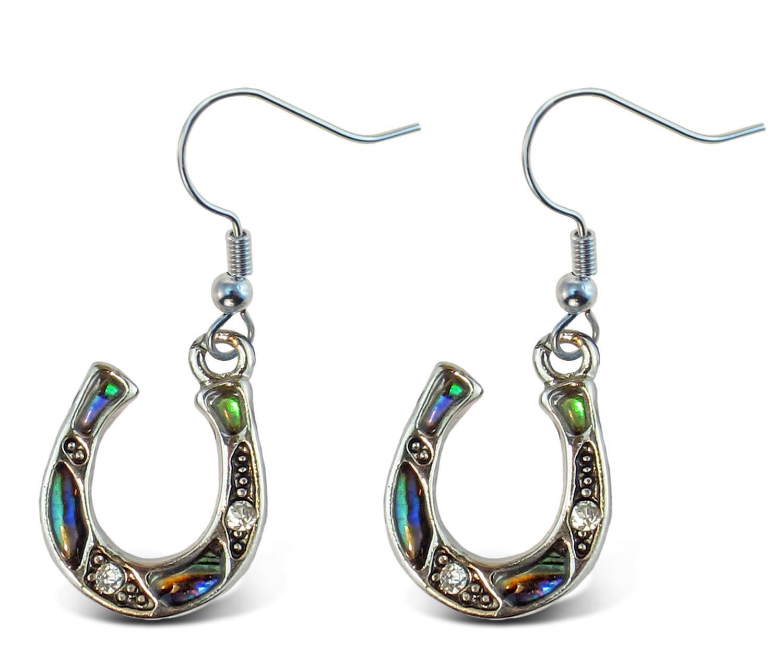 Fish Hook Natural Paua - Horse SHOE - Aqua Jewelry - Earrings - Dangle Post