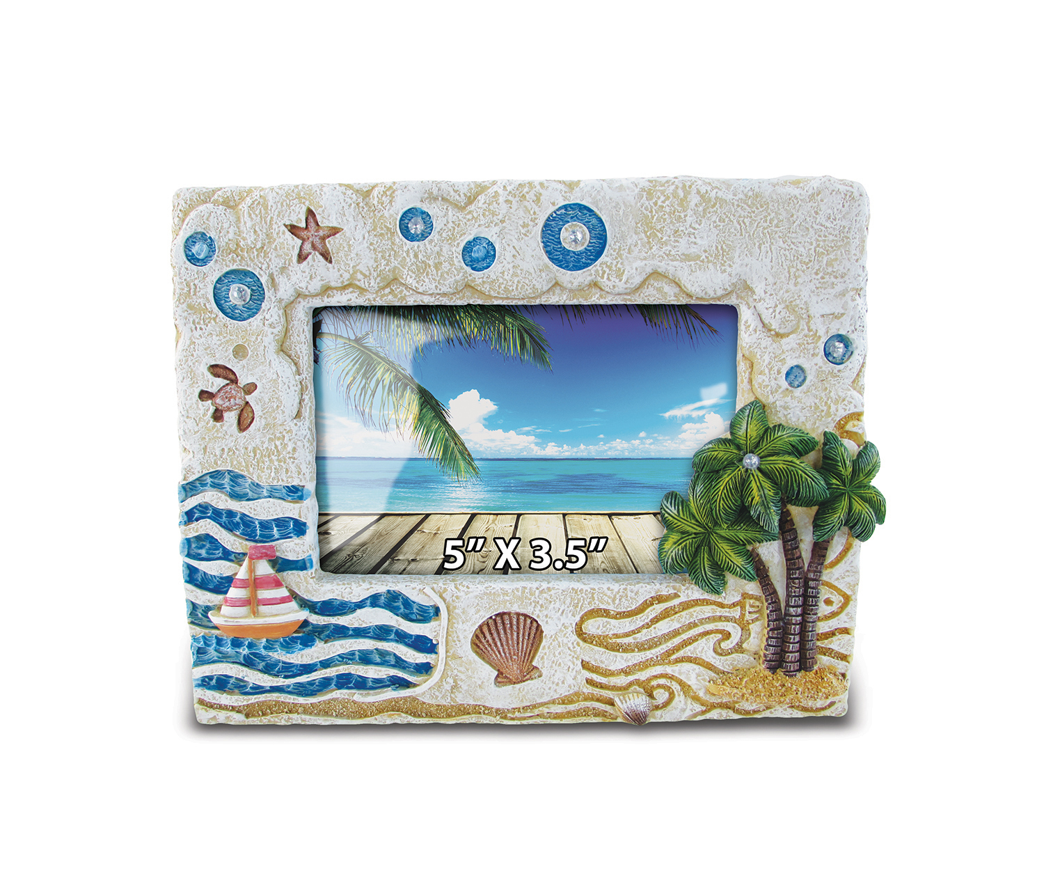 Puzzled Stone Frame - Palm Tree