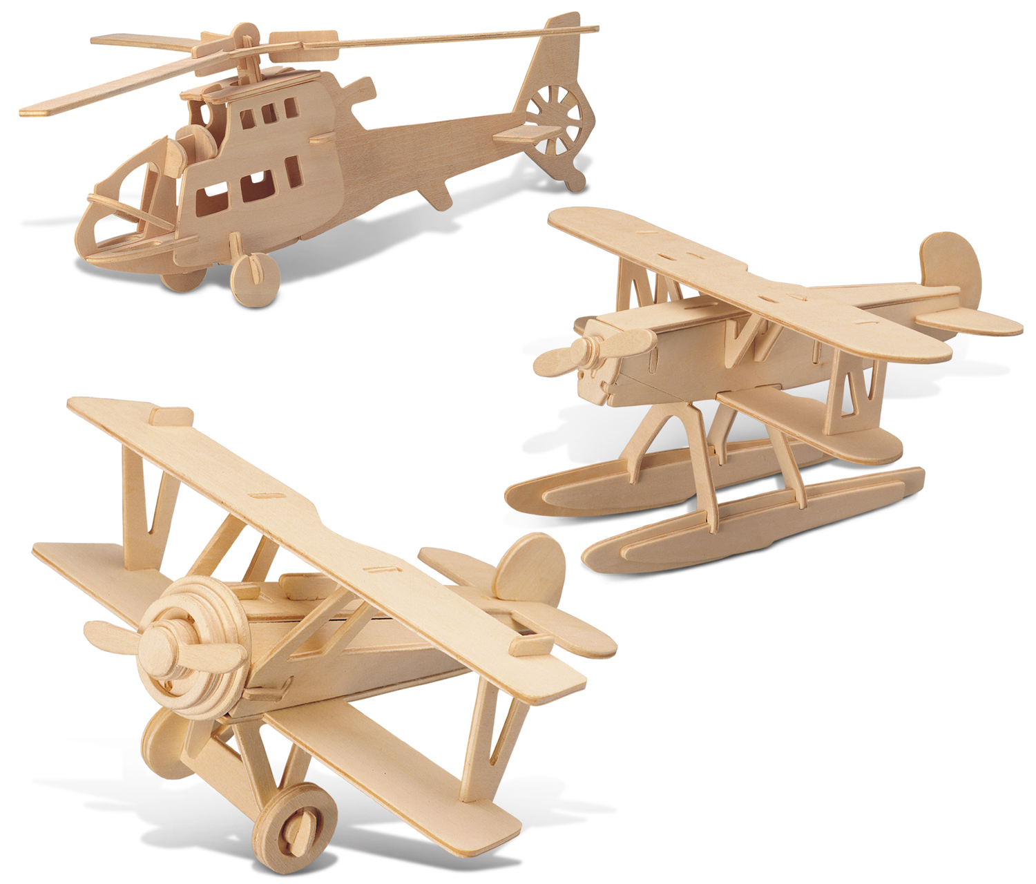 Puzzled Water Plane, Chopper and Nieuport 17 Wooden 3D Pu...