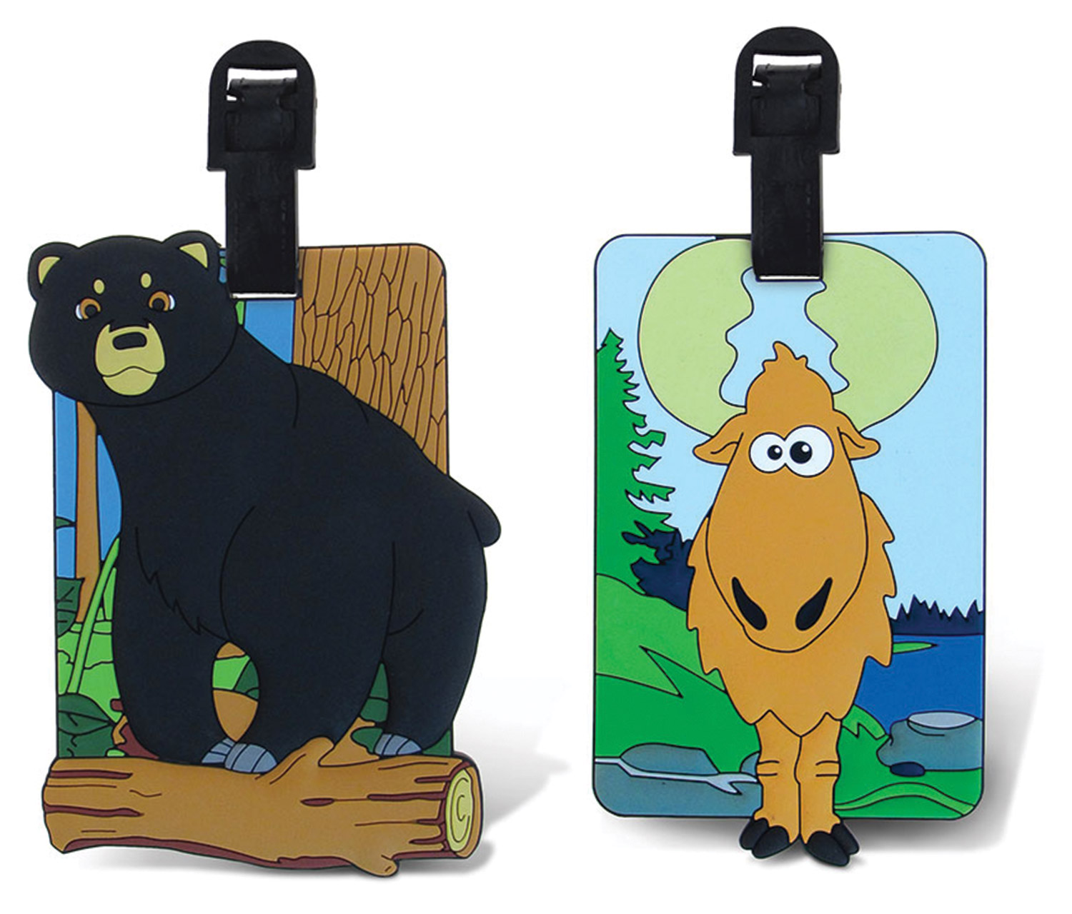 Puzzled Taggage Wild Black Bear And Goofy Moose Luggage T...
