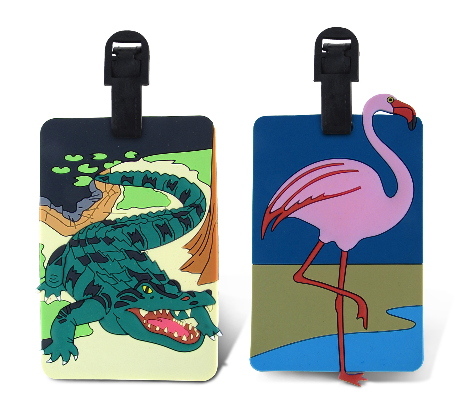 Puzzled Taggage Flamingo And Wild Gator Luggage Tag 3.5X5...