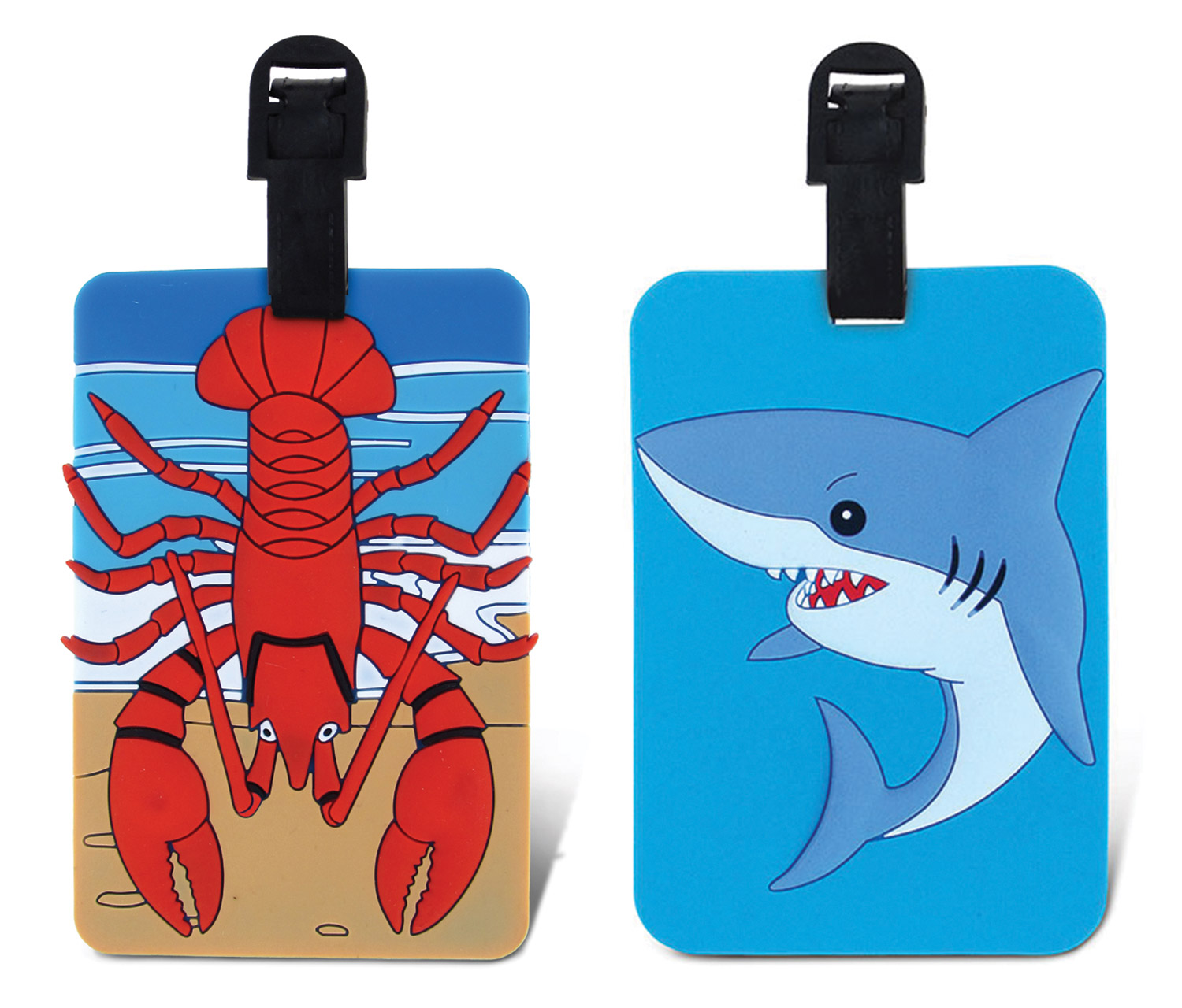 Puzzled Taggage Lobster And Shark Luggage Tag 3.5X5 Inch