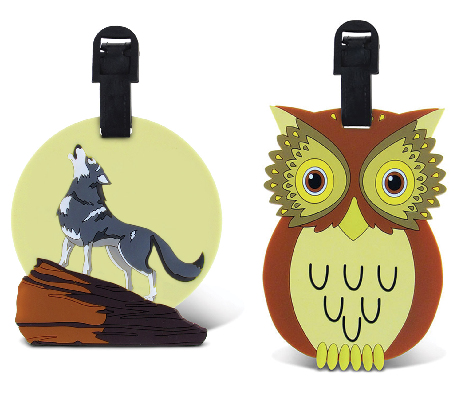 Puzzled Taggage Owl And Wolf Luggage Tag 3.5X5 Inch