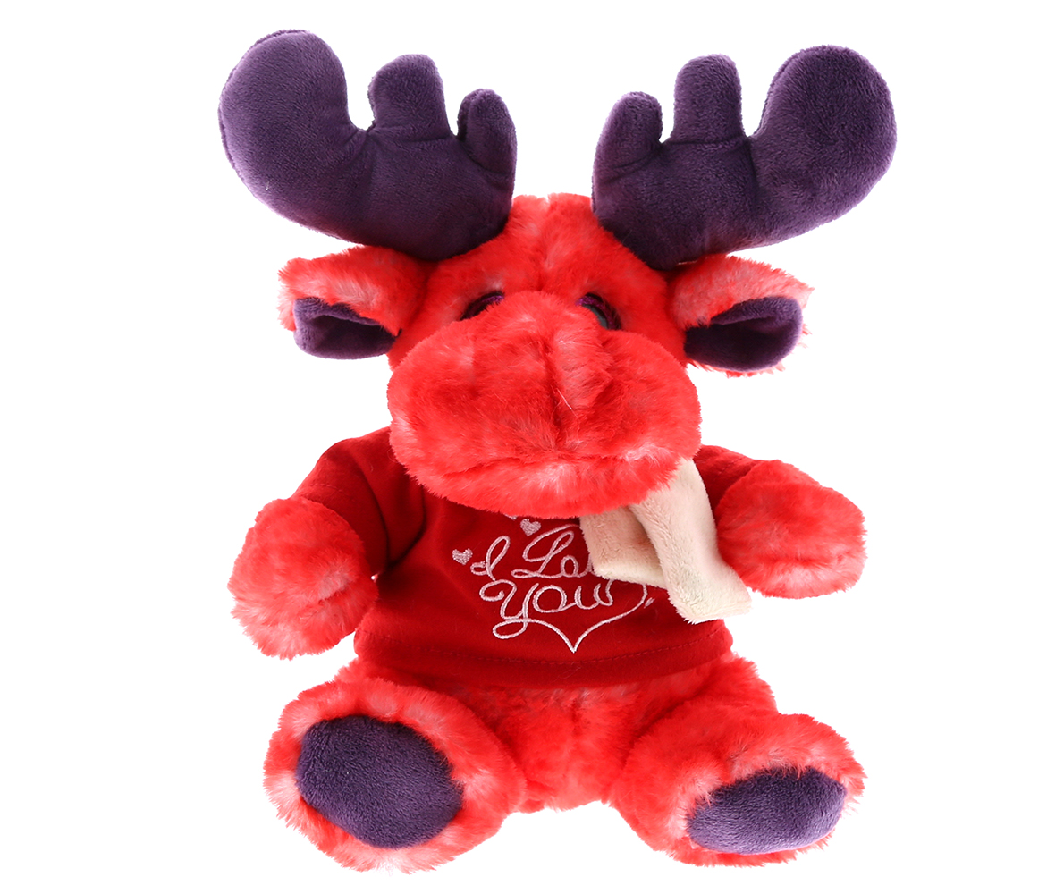 Dollibu Sitting Red Moose with SCARF I Love You Shirt Valentines Plush - Super Soft Plush