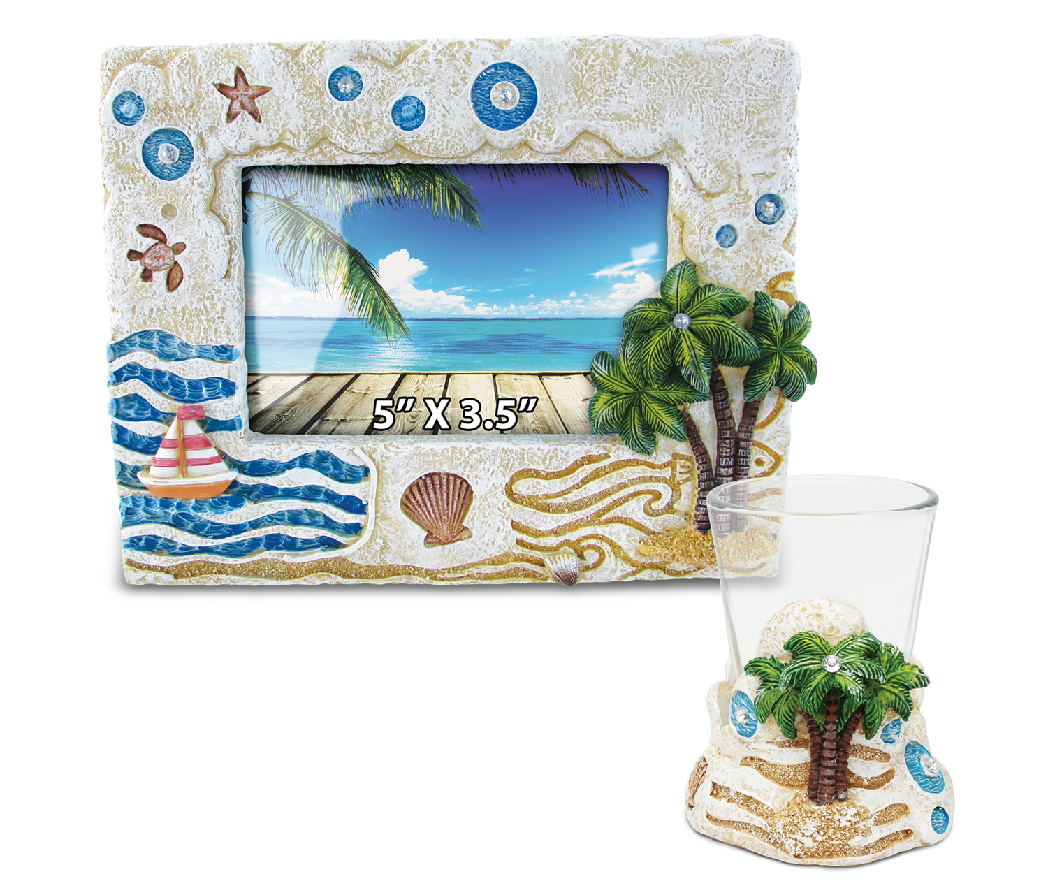 Puzzled Palm Tree Resin Stone Finish Collection including...