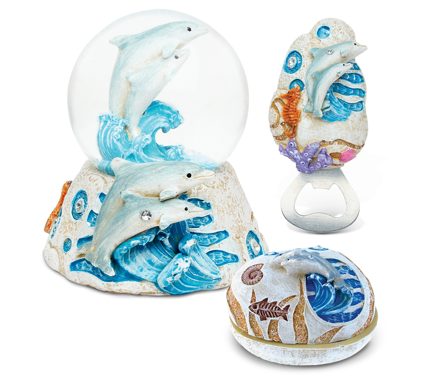Puzzled Home Decor Value Pack Dolphin Resin Stone collection - Set of 3 (Value Home Dcor Pack), Multi