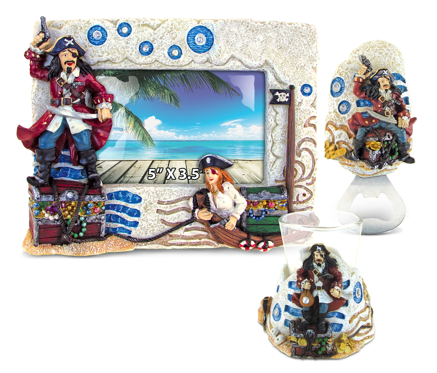 Puzzled Home Decor Value Pack Mermaid Pirate Stone collection - Set of 3 (Value Home Dcor Pack), Multi (Resin)