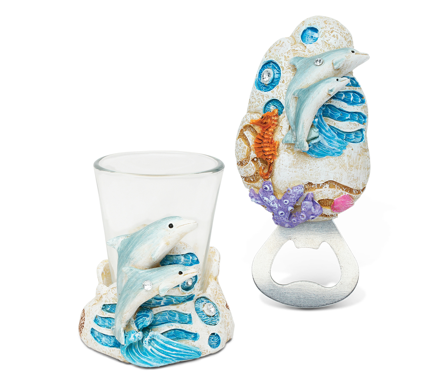 """Puzzled Unique Elegant Gift and Souvenir Dolphin Resin Stone Finish Collection Magnet Bottle Opener and Shot Glass (Size: 5""""L x 3""""W x 4.5""""H), Multi (Plastic)"""