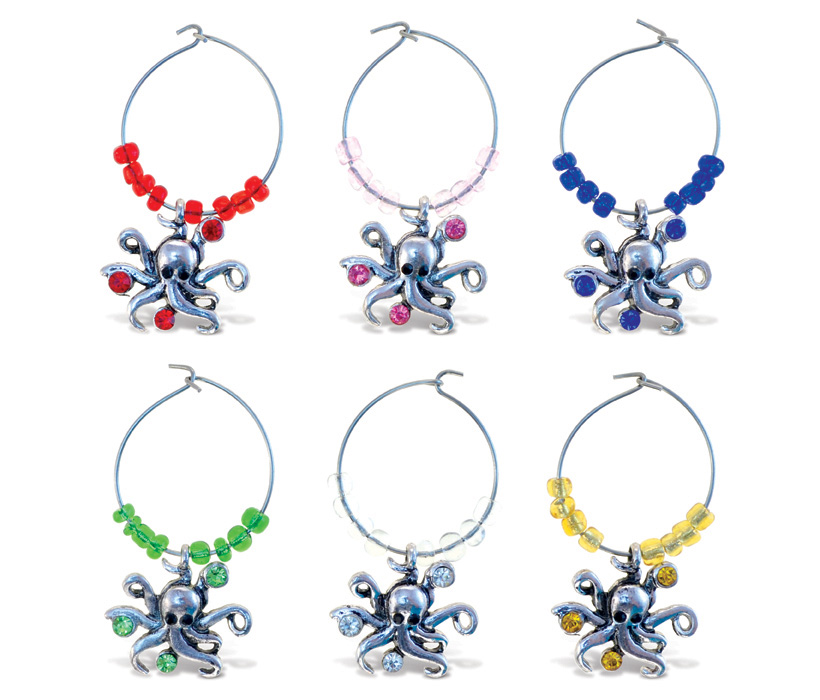 Images of Cheers Wine Charms Metal Octopus